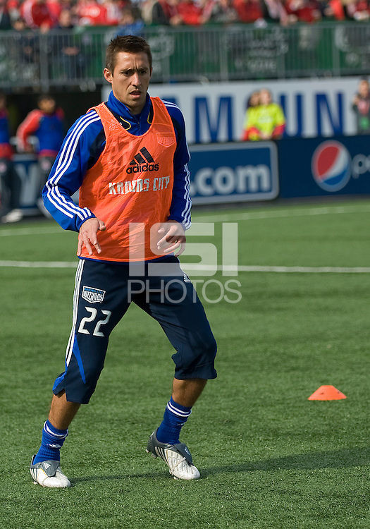 26 April 2009: Kansas City Wizards midfielder Davy Arnaud #22 warms up during an MLS game at BMO Field between Kansas City Wizards and Toronto FC..Toronto FC won 1-0. .