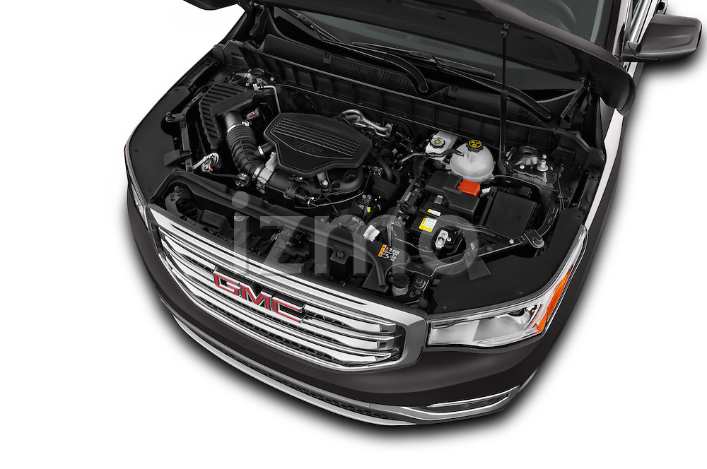 Car Stock 2017 GMC Acadia SLT-1-FWD 5 Door SUV Engine  high angle detail view
