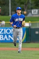 Gavin Cecchini (1) of the Las Vegas 51s runs off the field during the game against the Salt Lake Bees in Pacific Coast League action at Smith's Ballpark on September 4, 2016 in Salt Lake City, Utah. The Bees defeated the 51s 4-3. (Stephen Smith/Four Seam Images)