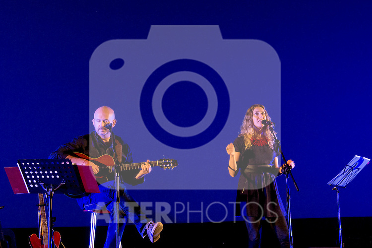 26.06.2012. Concert of Nacho Mañó and Gisela Renes presenting their albun ´Canto Rodado´at Kinepolis in Madrid. In the image Nacho Mañó and Gisela Renes (Alterphotos/Marta Gonzalez)