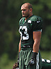 Mike Catapano #53, New York Jets defensive back, watches a drill during practice at Atlantic Health Jets Training Center in Florham Park, NJ on Wednesday, Aug. 17, 2016.