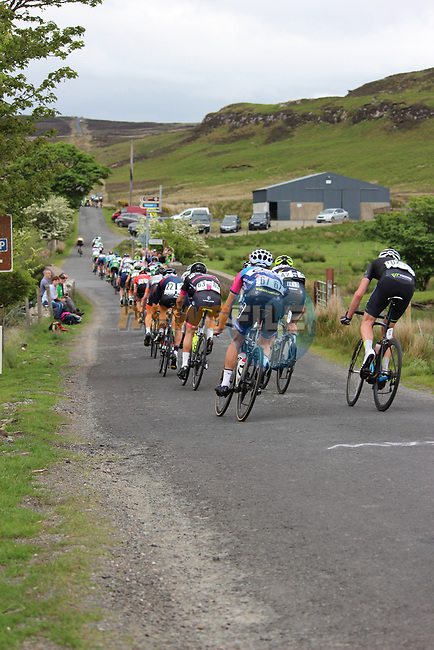 The peloton descend off Pinch Mountain during Stage 4 of the 2017 An Post Ras running 151.8km from Bundoran to Buncrana, Ireland. 24th May 2017.<br /> Picture: Andy Brady | Cyclefile<br /> <br /> <br /> All photos usage must carry mandatory copyright credit (&copy; Cyclefile | Andy Brady)