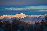 Evening sun lighting the peaks of the Mission Mountains in western Montana