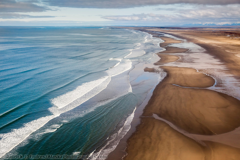 Aerial of waves rolling on the long the sandy shores of Softuk bar, Gulf of Alaska, southcentral.