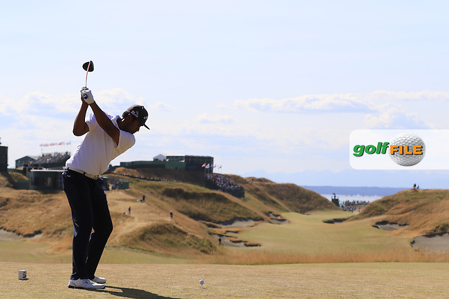 Tony Finau (USA) tees off the 10th tee during Saturday's Round 3 of the 2015 U.S. Open 115th National Championship held at Chambers Bay, Seattle, Washington, USA. 6/20/2015.<br /> Picture: Golffile | Eoin Clarke<br /> <br /> <br /> <br /> <br /> All photo usage must carry mandatory copyright credit (&copy; Golffile | Eoin Clarke)