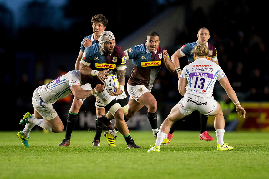 Harlequins' Mathew Luamanu in action during todays match<br /> <br /> Photographer Bob Bradford/CameraSport<br /> <br /> Aviva Premiership Round 20 - Harlequins v Exeter Chiefs - Friday 14th April 2016 - The Stoop - London<br /> <br /> World Copyright &copy; 2017 CameraSport. All rights reserved. 43 Linden Ave. Countesthorpe. Leicester. England. LE8 5PG - Tel: +44 (0) 116 277 4147 - admin@camerasport.com - www.camerasport.com