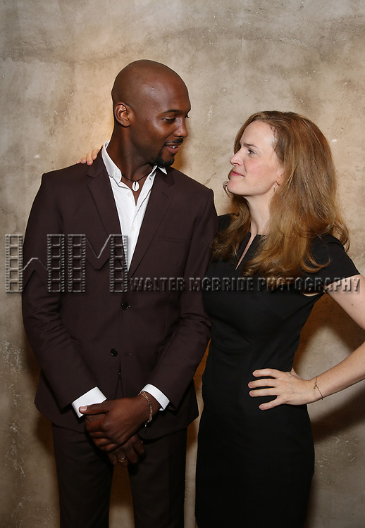 Jireh Breon Holder and Margot Bordelon attends the Roundabout Theatre Company's Opening Night Party for 'Too Heavy For Your Pocket' at Burger and Lobster on October 5, 2017 in New York City.