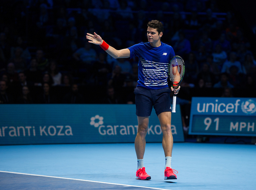 Milos Raonic of Canada in action against Dominic Thiem of Austria in their Group Ivan Lendl match today<br /> <br /> Photographer Ashley Western/CameraSport<br /> <br /> International Tennis - Barclays ATP World Tour Finals - Day 5 - Thursday 17th November 2016 - O2 Arena - London<br /> <br /> World Copyright &copy; 2016 CameraSport. All rights reserved. 43 Linden Ave. Countesthorpe. Leicester. England. LE8 5PG - Tel: +44 (0) 116 277 4147 - admin@camerasport.com - www.camerasport.com