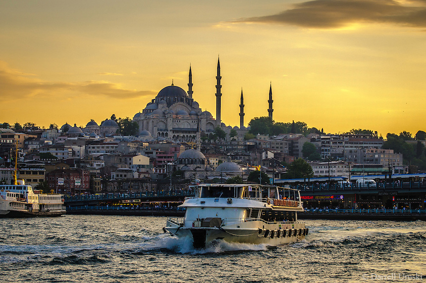 Fine, Art, Landscape Photograph, Bosphorus, Strait,  Suleymaniye, Mosque, Istanbul, Turkey, Golden, Rays, Setting, Sun, Texture Buildings, Waterway, Bosphorus,<br />