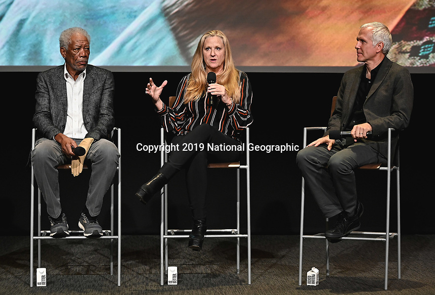 "LOS ANGELES - JUNE 5:  Morgan Freeman, Lori McCreary and James Younger attend an FYC event for National Geographic's ""The Story of God"" at the TV Academy on June 5, 2019 in Los Angeles, California. (Photo by Scott Kirkland/National Geographic/PictureGroup)"
