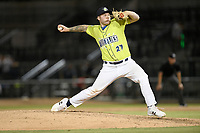 Pitcher Bryce Hutchinson (27) of the Columbia Fireflies delivers a pitch in a game against the Augusta GreenJackets on Friday, May 31, 2019, at Segra Park in Columbia, South Carolina. Augusta won, 8-6. (Tom Priddy/Four Seam Images)