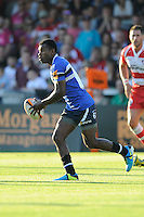 20130801 Copyright onEdition 2013 ©<br /> Free for editorial use image, please credit: onEdition.<br /> <br /> Tuvita Tamatawale of Bath Rugby 7s during the J.P. Morgan Asset Management Premiership Rugby 7s Series.<br /> <br /> The J.P. Morgan Asset Management Premiership Rugby 7s Series kicks off for the fourth season on Thursday 1st August with Pool A at Kingsholm, Gloucester with Pool B being played at Franklin's Gardens, Northampton on Friday 2nd August, Pool C at Allianz Park, Saracens home ground, on Saturday 3rd August and the Final being played at The Recreation Ground, Bath on Friday 9th August. The innovative tournament, which involves all 12 Premiership Rugby clubs, offers a fantastic platform for some of the country's finest young athletes to be exposed to the excitement, pressures and skills required to compete at an elite level.<br /> <br /> The 12 Premiership Rugby clubs are divided into three groups for the tournament, with the winner and runner up of each regional event going through to the Final. There are six games each evening, with each match consisting of two 7 minute halves with a 2 minute break at half time.<br /> <br /> For additional images please go to: http://www.w-w-i.com/jp_morgan_premiership_sevens/<br /> <br /> For press contacts contact: Beth Begg at brandRapport on D: +44 (0)20 7932 5813 M: +44 (0)7900 88231 E: BBegg@brand-rapport.com<br /> <br /> If you require a higher resolution image or you have any other onEdition photographic enquiries, please contact onEdition on 0845 900 2 900 or email info@onEdition.com<br /> This image is copyright the onEdition 2013©.<br /> <br /> This image has been supplied by onEdition and must be credited onEdition. The author is asserting his full Moral rights in relation to the publication of this image. Rights for onward transmission of any image or file is not granted or implied. Changing or deleting Copyright information is illegal as specified in the Copyright, Design and Patents Act 1988. If you are in any way unsure of your right to publish this image please contact onEdition on 0845 9