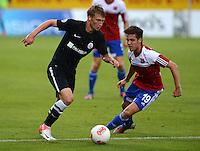 3. Fussball Bundesliga:  2. Spieltag    Saison   2012/2013   SpVgg Unterhaching  - FC Hansa Rostock   28.07.2012 Michael Blum (li, FC Hansa Rostock) gegen Maximilian Welzmueller (Unterhaching)