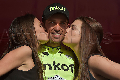 21.02.2016. Almodovor, Algarve, Portugal.  CONTADOR VELASCO Alberto (ESP)  of TINKOFF celebrates the win during the podium ceremony of stage 5 of the 42nd Tour of Algarve cycling race with start in Almodovar and finish in Malhao (Loule) on February 21, 2016 in Malhao, Portugal.