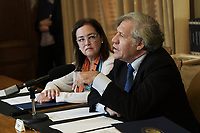 Washington, DC - September 20, 2019: Organization of America State(OAS) Secretary General Luis Almagro and El Salvador Foreign Minister Alexandra Hill hold an event to sign a cooperation agreements for the installation of the International Commission Against Impunity in El Salvador today Sep 20, 2019 at OAS headquarters in Washington DC. OAS Gn Secretary, El Salvador Foreign Minister Luis Almagro, Alexandra Hill  September 20, 2019. (Photo by Lenin Nolly/Media Images International)