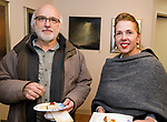 CHESHIRE, CT-011218JS15---Ralph Crispino Jr., President and Board Chairman of I-Park Foundation, Inc., and foundation board Treasurer and Secretary, Joanne Paradis, at the grand opening of The Voice of Art Gallery and Studio in Cheshire. <br /> Jim Shannon Republican-American