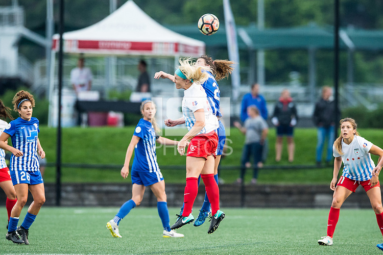 Boston, MA - Friday July 07, 2017: Julie Ertz and Morgan Andrews during a regular season National Women's Soccer League (NWSL) match between the Boston Breakers and the Chicago Red Stars at Jordan Field.
