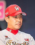 Kim Kang-Min, Mar 28, 2016 : South Korean baseball team SK Wyverns' center fielder Kim Kang-Min attends a media day and fanfest of 10 clubs in the Korea Baseball Organization (KBO) in Seoul, South Korea. (Photo by Lee Jae-Won/AFLO) (SOUTH KOREA)