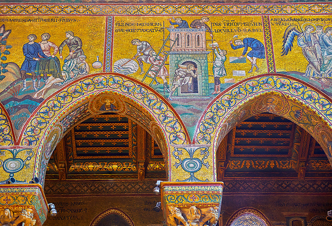 North wall mosaics depicting the building of the tower of Babel in the Norman-Byzantine medieval cathedral  of Monreale,  province of Palermo, Sicily, Italy.