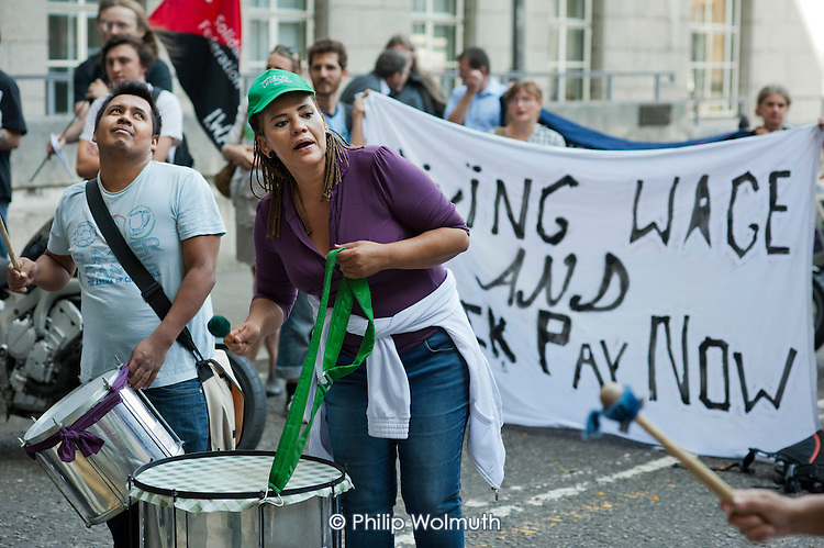 Demonstration by cleaners at Senate House, University of London, called by Unison to protest at the failure by contractor Balfour Beatty to pay the London Living Wage or Sick Pay.