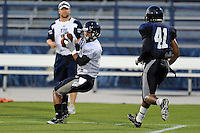 12 August 2011:  FIU's Wayne Times (5) pulls in a reception during a scrimmage held as part of the FIU 2011 Panther Preview at University Park Stadium in Miami, Florida.