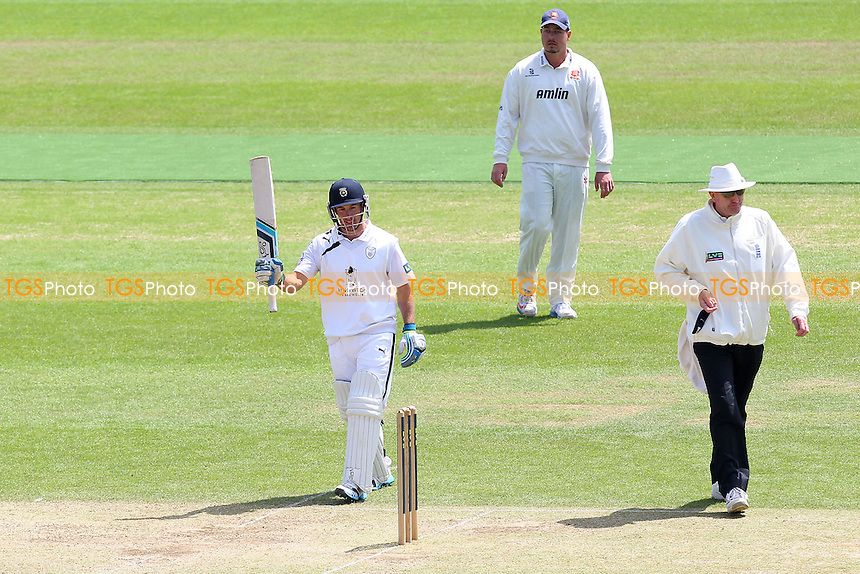 Will Smith of Hampshire acknowledges scoring 150 runs for his team - Hampshire CCC vs Essex CCC - LV County Championship Division Two Cricket at the Ageas Bowl, West End, Southampton - 17/06/14 - MANDATORY CREDIT: Gavin Ellis/TGSPHOTO - Self billing applies where appropriate - 0845 094 6026 - contact@tgsphoto.co.uk - NO UNPAID USE