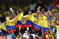 BARRANQUILLA -COLOMBIA, 11-OCTUBRE-2016.Hinchas  de Colombia  alientan a su equipo  contra  Uruguay durante el  encuentro  por las eliminatorias al mundial de Rusia 2018  disputado en el estadio Metropolitano Roberto Meléndez de Barranquilla./ Fans of Colombia cheer their team against of Uruguay during the qualifying match for the 2018 World Championship in Russia Metropolitano Roberto Melendez stadium in Barranquilla . Photo:VizzorImage / Felipe Caicedo  / Staff