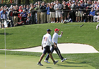 28 SEP 12   Brsndt Snedeker and caddie Scott Vail walk off the 16th green during Fridays morning foresome matches  at The 39th Ryder Cup at The Medinah Country Club in Medinah, Illinois.