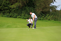 Richard Gaule &amp; Val Carey (Waterford) on the 5th green during the AIG Jimmy Bruen Shield Final between Lisselan &amp; Waterford in the AIG Cups &amp; Shields at Carton House on Saturday 20th September 2014.<br /> Picture:  Thos Caffrey / www.golffile.ie