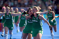 Ireland's Gillian Pinder celebrates her team getting into the final with team mates<br /> <br /> Photographer Hannah Fountain/CameraSport<br /> <br /> Vitality Hockey Women's World Cup - Ireland v Spain - Saturday 4th August 2018 - Lee Valley Hockey and Tennis Centre - Stratford<br /> <br /> World Copyright &copy; 2018 CameraSport. All rights reserved. 43 Linden Ave. Countesthorpe. Leicester. England. LE8 5PG - Tel: +44 (0) 116 277 4147 - admin@camerasport.com - www.camerasport.com