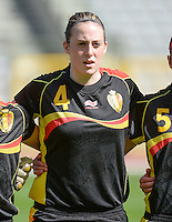 20140407 - BRUSSELS , BELGIUM : Belgian Britt Vanhamel pictured during the female soccer match between CZECH REPUBLIC U19 and BELGIUM U19 , in the second game of the Elite round in group 4 in the UEFA European Women's Under 19 competition 2014 in the Koning Boudewijn Stadion , Monday 7 April 2014 in Brussels . PHOTO DAVID CATRY