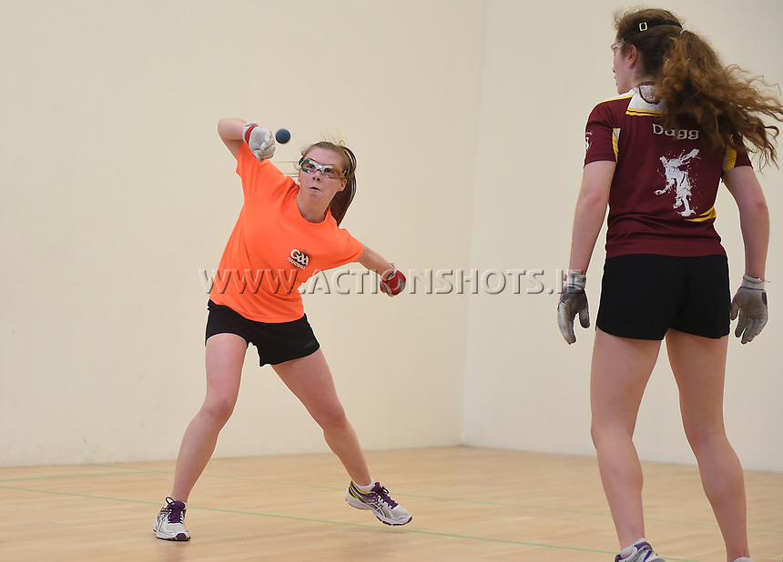 30/04/2017; 2017 40x20 Irish Junior National Handball Finals; Moycullen; Co Galway<br /> Girls 15 and Under Final<br /> Mollie Dagg (Kildare) v Niamh Hefferan (Galway) <br /> Photo Credit: actionshots.ie/Tommy Grealy
