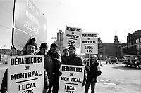 April 1975 File Photo  (exact date unknown)- the picket line at Montreal Port