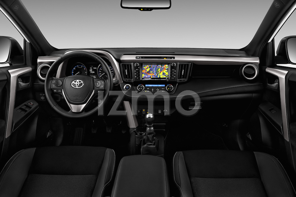 Stock photo of straight dashboard view of 2016 Toyota RAV4 Style 5 Door SUV Dashboard