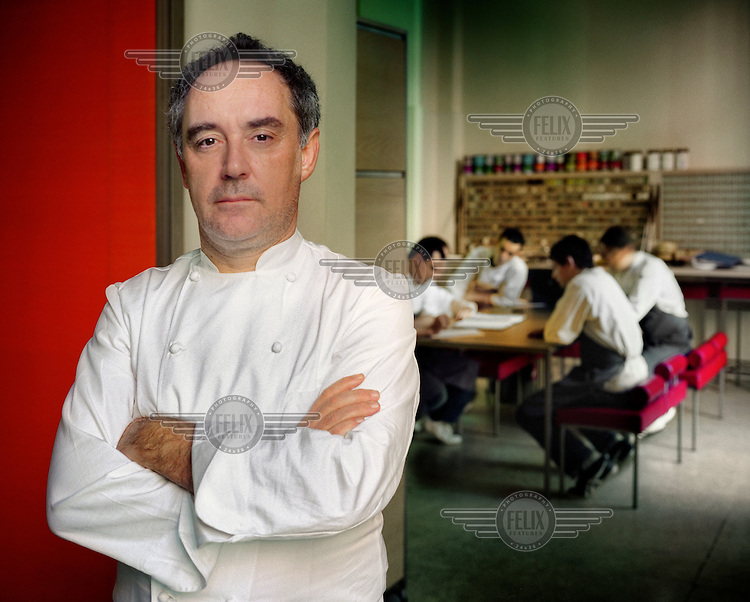 Chef Ferran Adria of El Bulli restaurant, in his workshop working with his team on new recipes.