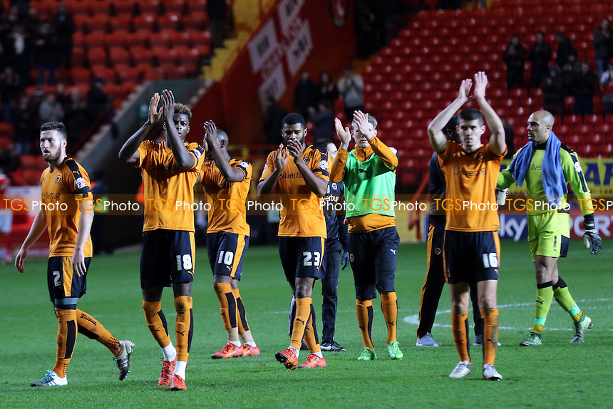 Wolves players applaud their supporters at the final whistle after beating Charlton 2-0 during Charlton Athletic vs Wolverhampton Wanderers, Sky Bet Championship Football at The Valley, London, England on 28/12/2015