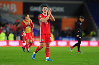 Connor Roberts of Wales applauds the fans at the final whistle during the UEFA Euro 2020 Qualifier match between Wales and Azerbaijan at the Cardiff City Stadium in Cardiff, Wales, UK. Friday 06, September 2019