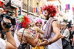 Winner, second and third of the heels race of the lgtb pride party of Madrid. July 4, 2019. (ALTERPHOTOS/JOHANA HERNANDEZ)