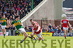 Paul Murphy Kerry shoots for goal against Brian O Driscoll Cork in the National Football league in Austin Stack Park, Tralee on Sunday.