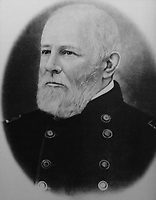 Photograph of Washington Seawell, 1802-88, first Commanding Officer of Fort Davis, who established the garrison with 6 companies of the 8th US Infantry, exhibited at the Fort Davis National Historic Site, a US army fort established 1854, in a canyon in the Davis Mountains in West Texas, USA. The fort was built to protect emigrants, mail coaches, and freight wagons on the trails through the State from Comanche and Apache Indians. After the Civil War, several African-American regiments were stationed here. By the 1880s, the fort consisted of one 100 buildings, housing over 400 soldiers. It was abandoned in 1891, but many buildings have been restored and the compound now operates as a historical site and museum. Picture by Manuel Cohen