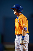 St. Lucie Mets left fielder Dale Burdick (7) on deck during a game against the Daytona Tortugas on August 3, 2018 at First Data Field in Port St. Lucie, Florida.  Daytona defeated St. Lucie 3-2.  (Mike Janes/Four Seam Images)