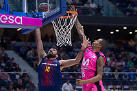 Estudiantes Sylven Landesberg and FC Barcelona Lassa Pierre Oriole during Liga Endesa match between Estudiantes and FC Barcelona Lassa at Wizink Center in Madrid, Spain. October 22, 2017. (ALTERPHOTOS/Borja B.Hojas) /NortePhoto.com
