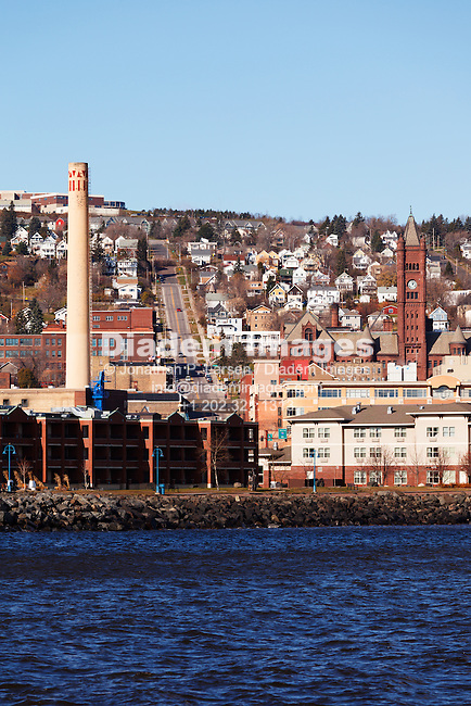 View of downtown Duluth, Minnesota on Lake Superior.