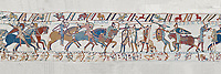 Bayeux Tapestry scene 56: Norman caalry breaks through Saxon lines and Harolds army is slaughtered. BYX56