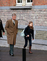 Princess Elisabeth of Belgium arrives at school with King Philippe - EXCLU - Belgium