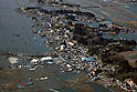 March 13, 2011, Soma, Japan - Inundated swaths of  rice paddies strech from the sea coast to inland in Soma, Ibaraki prefecture, on Sunday, March 13, 2011, two days after a 10-meter tsunami flooded this northeastern Japanese coastal town. A powerful earthquake with a magnitude 9.0 jolted Japan's northeastern prefectures, wreaking havoc on otherwise beautiful coastal towns and farmlands. The death toll from the nation's worst and the world's fourth worst quake could rise above 10,000. (Photo by Yoichi Tsukioka/AFLO) [2570] -mis-