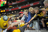 Captain Hurricane greets fans during the Super Rugby match between the Hurricanes and Sharks at Westpac Stadium, Wellington, New Zealand on Saturday, 9 May 2015. Photo: Dave Lintott / lintottphoto.co.nz