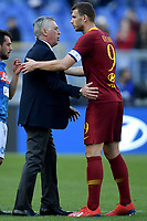 Carlo Ancelotti of Napoli , Edin Dzeko of AS Roma <br /> Roma 31-3-2019 Stadio Olimpico Football Serie A 2018/2019 AS Roma - Napoli <br /> Foto Andrea Staccioli / Insidefoto
