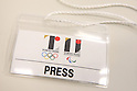 Press pass, SEPTEMBER 1, 2015 : The Tokyo Organising Committee of the Olympic and Paralympic Games holds a media conference in Tokyo, Japan. The Tokyo Organising Committee announced that it would cease to use the controversial emblem for the 2020 Tokyo Olympic and Paralympic Games which has become the subject of claims of plagiarism. (Photo by Shingo Ito/AFLO SPORT)