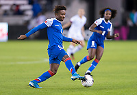 HOUSTON, TX - JANUARY 28: Melchie Dumonay #6 of Haiti controls the ball during a game between Haiti and USWNT at BBVA Stadium on January 28, 2020 in Houston, Texas.